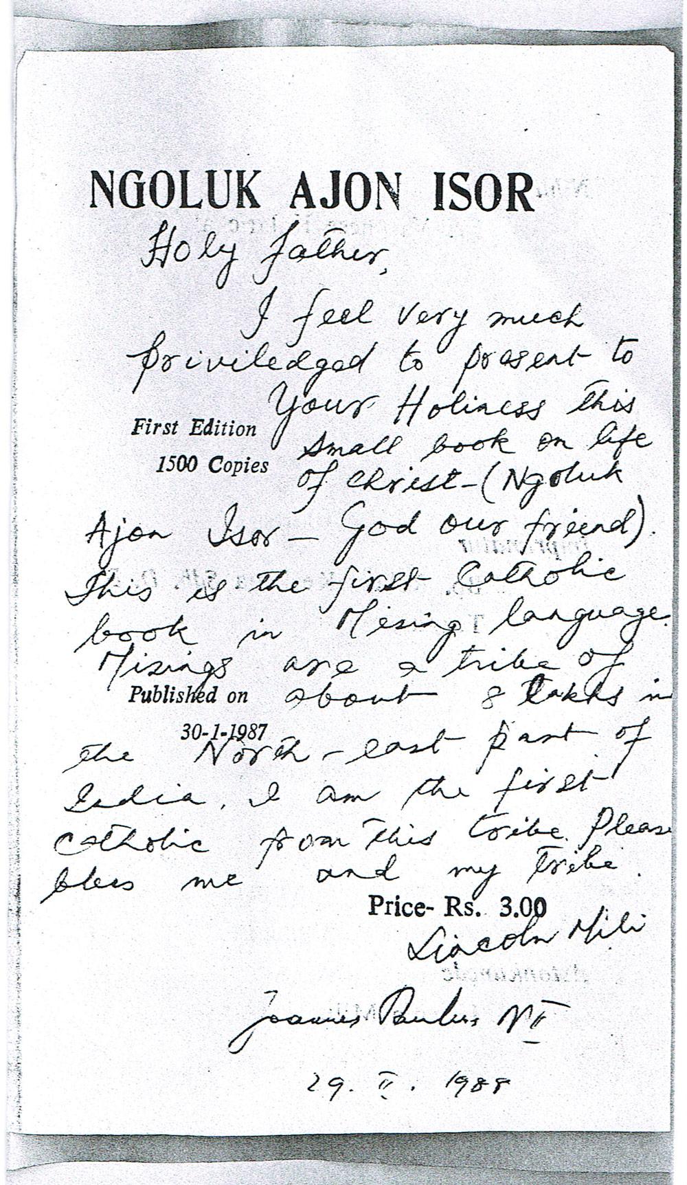 Schriftstueck Johannes Paul II